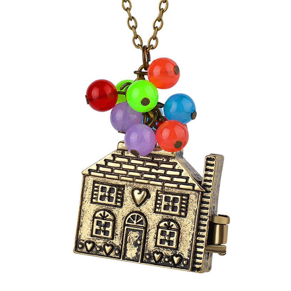 Family Decor Hot Air Balloon Pendant Necklace Cabochon Glass Vintage Bronze Chain Necklace Jewelry Handmade