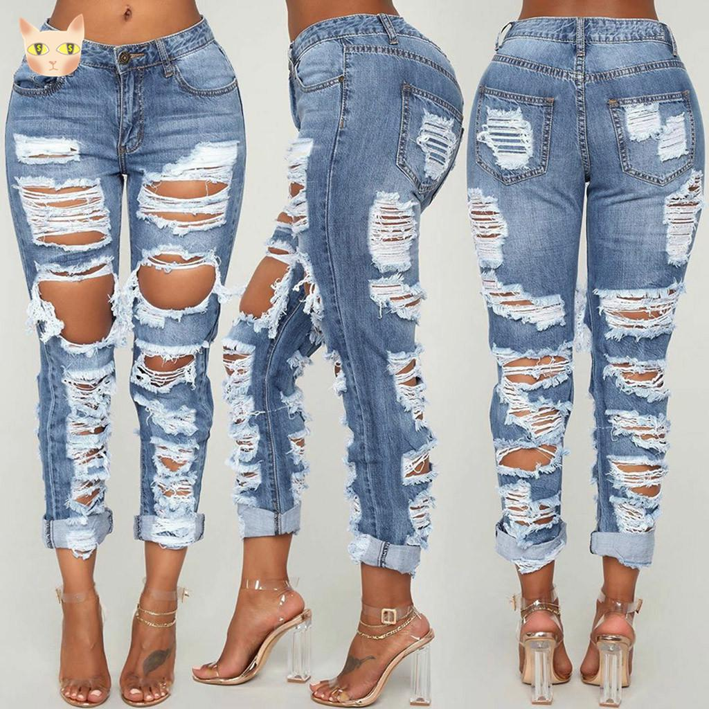 Women Skinny Jeans Fashion Casual High Waist Ripped Distressed Broken Holes Slim Fit Ankle Length Pencil Pants