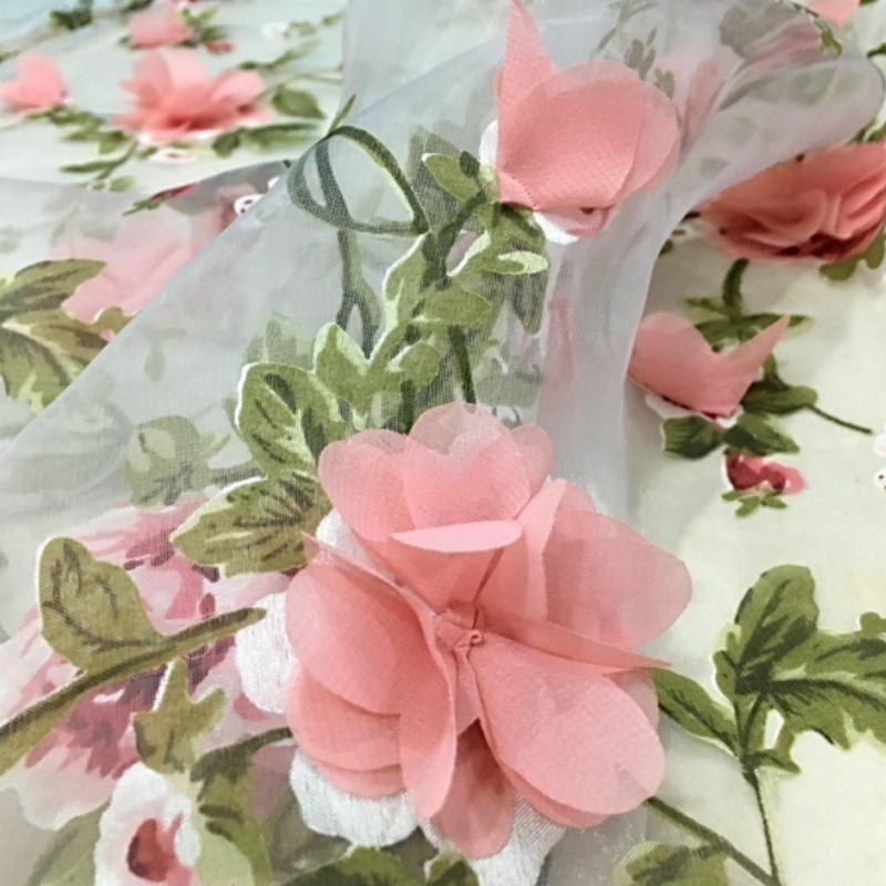 3D Embroidery Floral Lace Fabric Sheer Mesh Flower Wedding Dress DIY Cloth Fairy