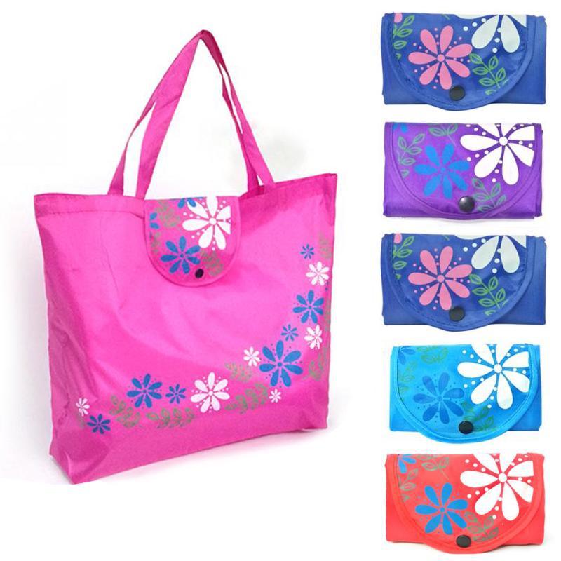 1шт кнопку закрытия складной продуктовых Оксфорд ткань Интернет магазин сумок Tote цветочный сумочка