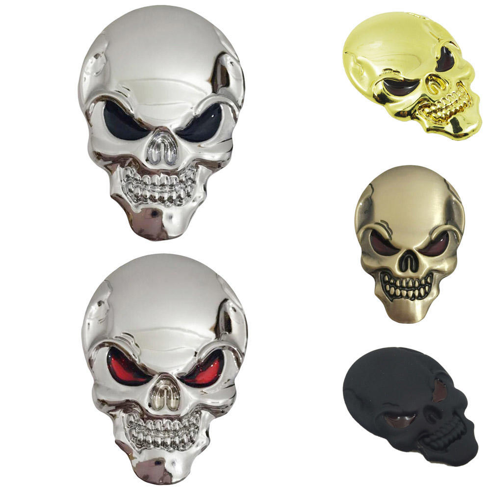 Bronze Skeleton Skull Bone 3D Metal Creative Car Motor Logo Badge Cool Sticker