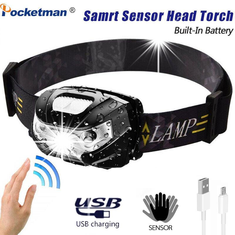 4* 90000Lm Motion Sensor LED Headlamp Headlight USB Rechargeable Head Torch Lamp