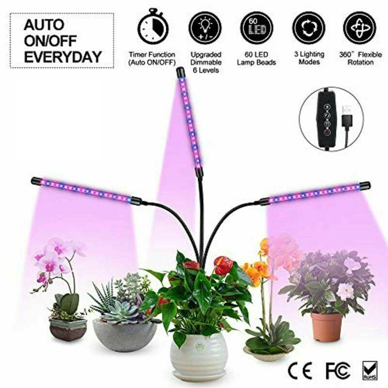 3 Timer Modes Dual Head LED Grow Light 20W USB Plant Clip Hydroponic Plant Lamp