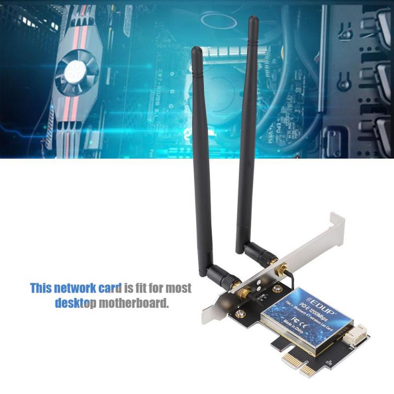 EDUP 1200Mbps PCI-E WiFi Wireless Card Kit Adapter Bluetooth 4.1 for Desktop PC