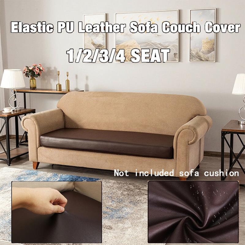 1//2//3//4 Seater Elastic PU Leather Waterproof Couch Cover Seat Protector Stretchy