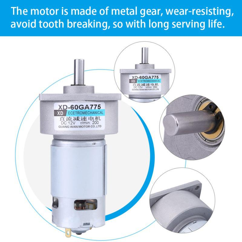 300RPM 12V DC 35W High Torque Small Geared Motor Adjustable Speed