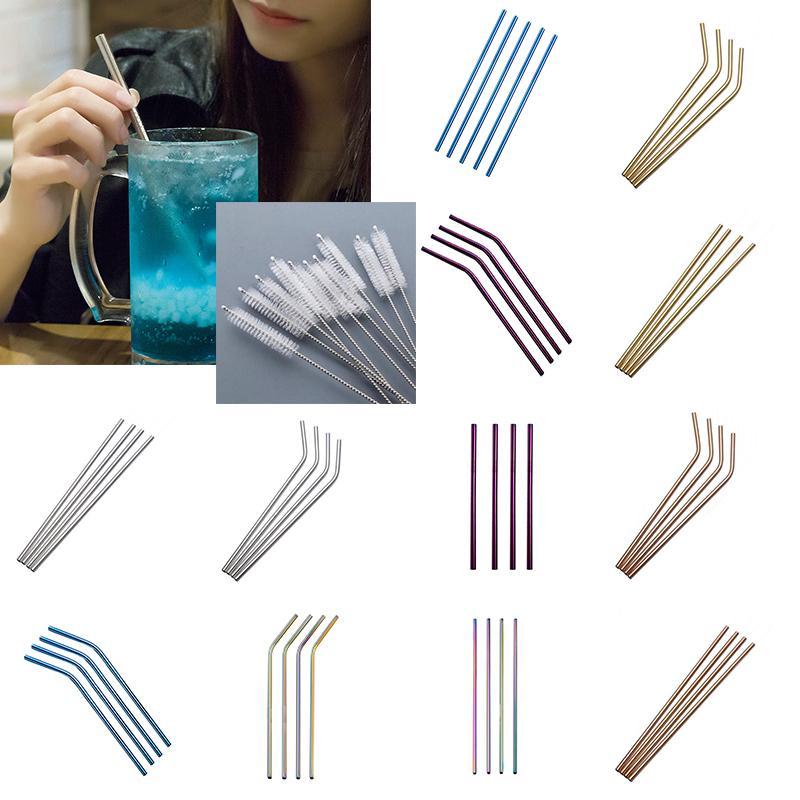 brosses Acier Inoxydable 10pcs potable Straight//Bent Pailles Réutilisable Lavable