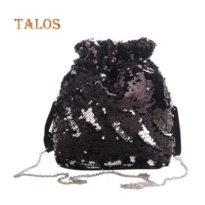 6f48a3b68f08 Блестящими пайетками моды шнурок женщин партии сумочка путешествия сумка  случайных Портативный Рюкзак