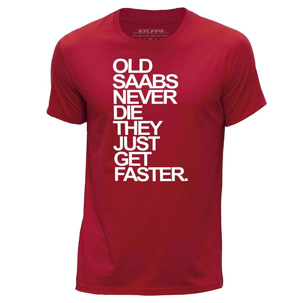 STUFF4 Men/'s Red Round Neck T-Shirt//Old Saabs//Saab Never Die//SZ