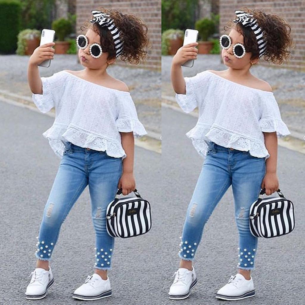 2pcs Set Toddler Baby Girl Rose Sweater Tops+jeans Denim Pants Outfits Clothes