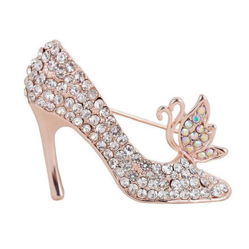 Broche Pin de Mujer Damas Forma de Zapatos de Tacón Alto Cristal Diamante de Imitación - 4 gLLXFqV