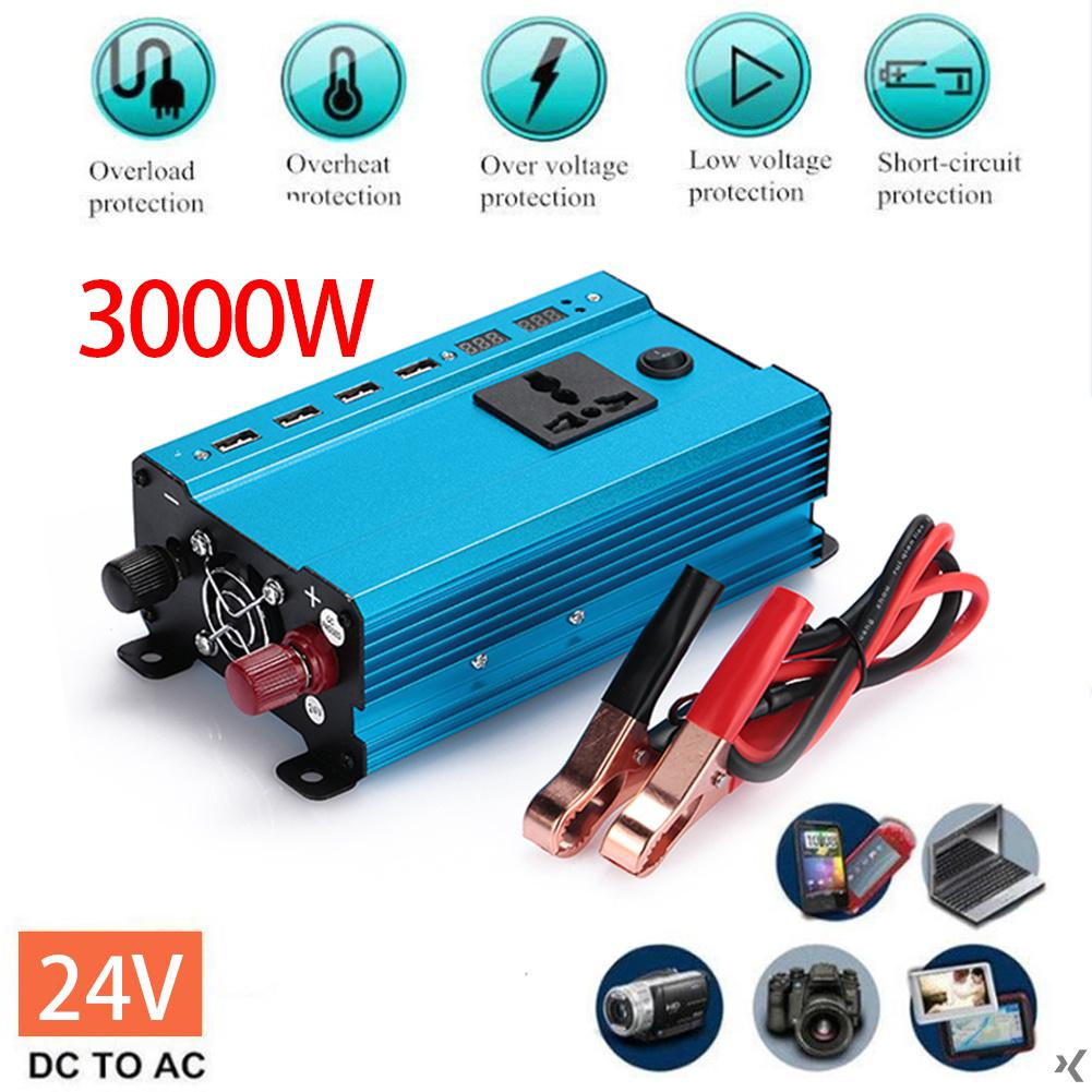 4000W 3000W Car LED Power Inverter Converter DC 12V/24V To AC 220V ...