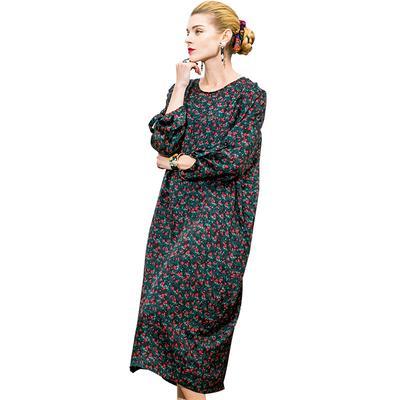 Pokwai Long Dress POKWAI Long Casual Floral Women Summer Straight Silk Dress Three Quarter  Sleeve O-Neck Dresses