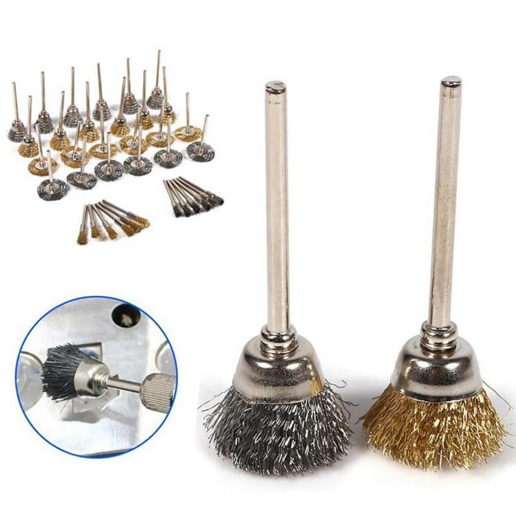 """10pcs 25mm Steel Wire Bowl Cup Wheel Brush 1//8/"""" Shank Rotary Die Grinder Tool"""
