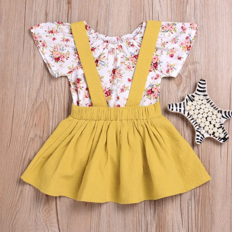 Baby Girls Flower Romper Petal Sleeve Jumpsuit Tops with Floral Suspender Skirt with Bowknot Headband Outfits Set