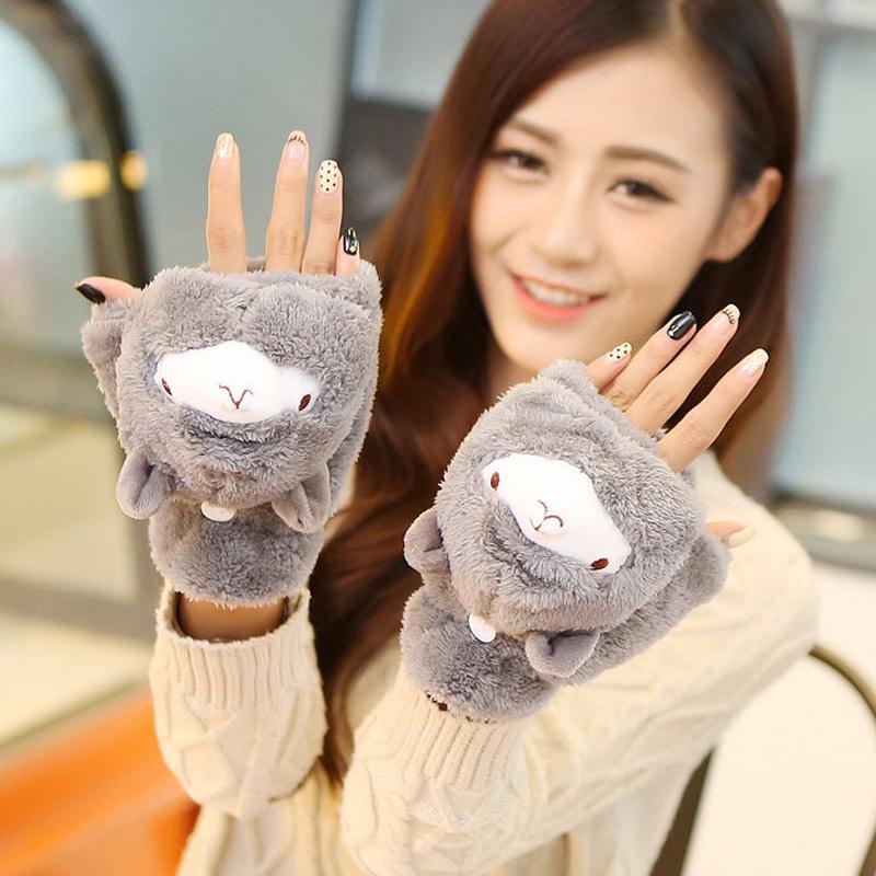 Girls Women Winter Warm Wrist Gloves Knitted Fleece Cartoon Hedgehog Fur Mittens