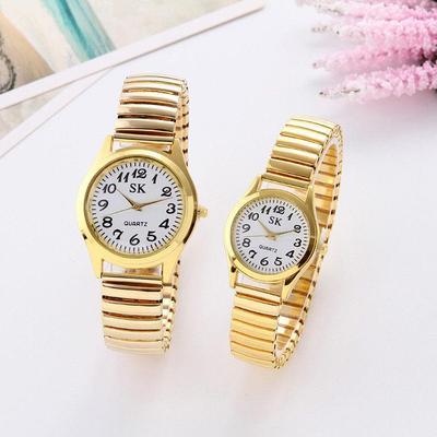 Elastic Stainless Steel Wristwatch Quartz Watch Analog Watches Lovers