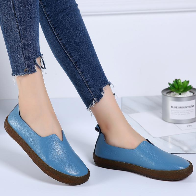 Women Flat-Bottomed Footwear Color Matching Large Size Casual Canvas Loafers