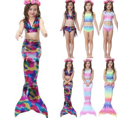 9571cbb0f74 Baby Girls 3pcs Mermaid Tails Swimmable Swimsuits Cosplay Costume Bikini  Girls Gifts