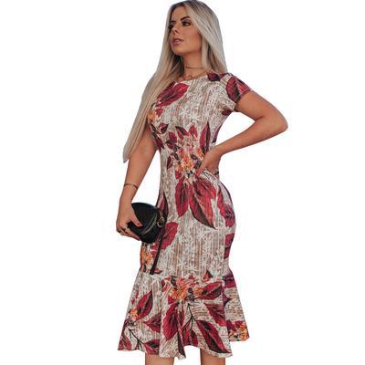 5b3978a8438d1b1 Флолин женщины Бохо без рукавов круглый шеи печатные оболочки Русалка  боди-кон платье