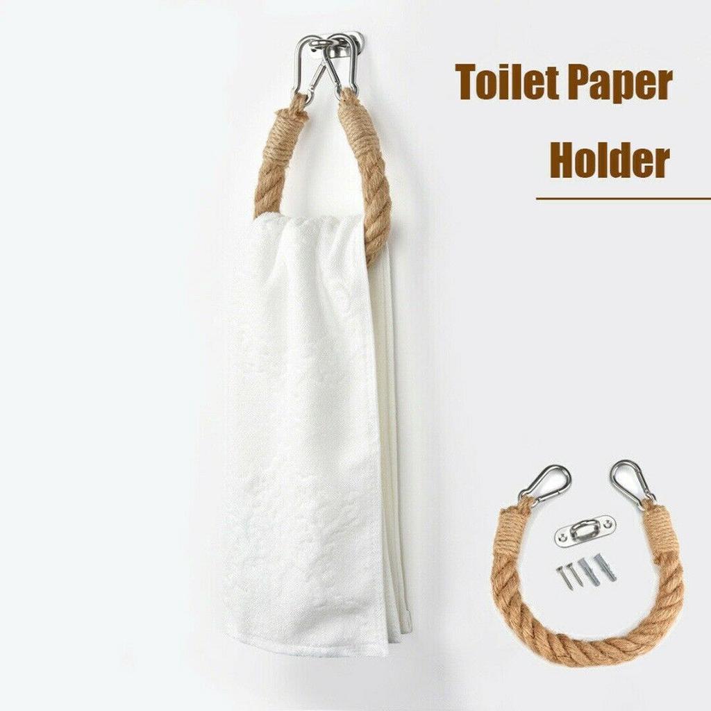 Vintage Gewebe Wandbehang Seil Jute Toilette Papier Handtuch Halter-Rollen DE