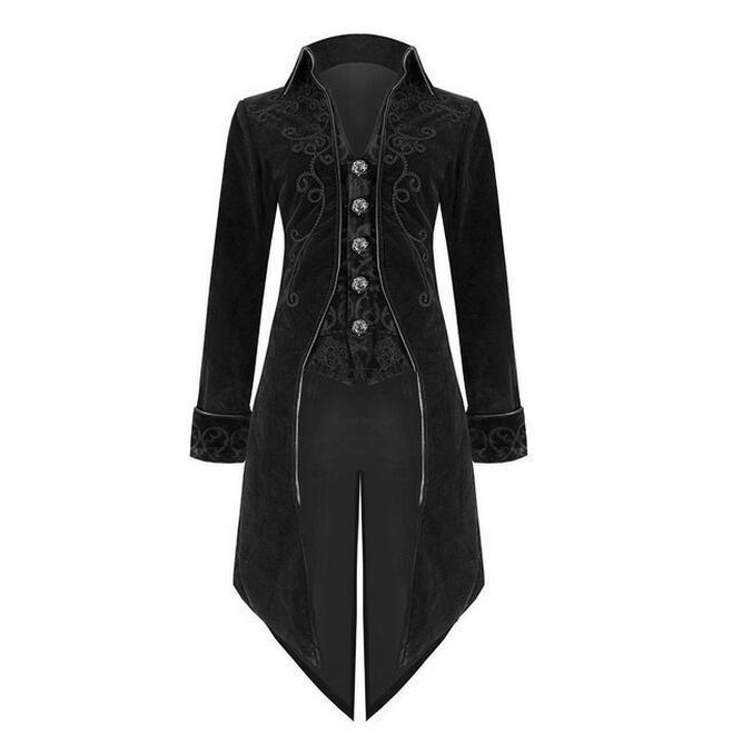 Fashion Mens Tailcoat Blue Velvet Goth Steampunk Aristocrat Regency Jacket