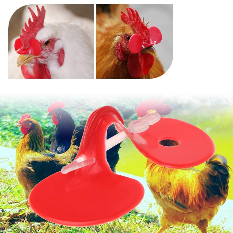 Chicken Eyes Glasses Livestock Avoid Chicken Pecking Farm Red Plastic Set of 50