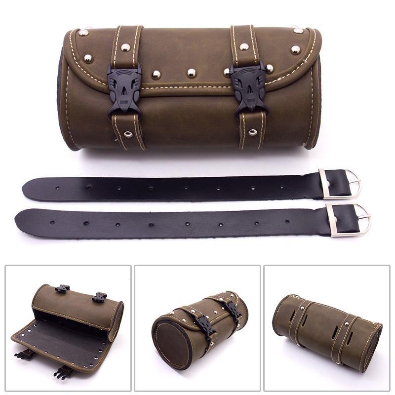 Motorcycle Retro PU Leather Tool Bag Handlebar Bar Saddlebag Bags Waterproof