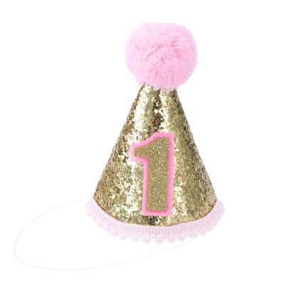 Glitter Sparkle Princess 1st Birthday Cone Hat With Adjustable Headband For Baby Pink