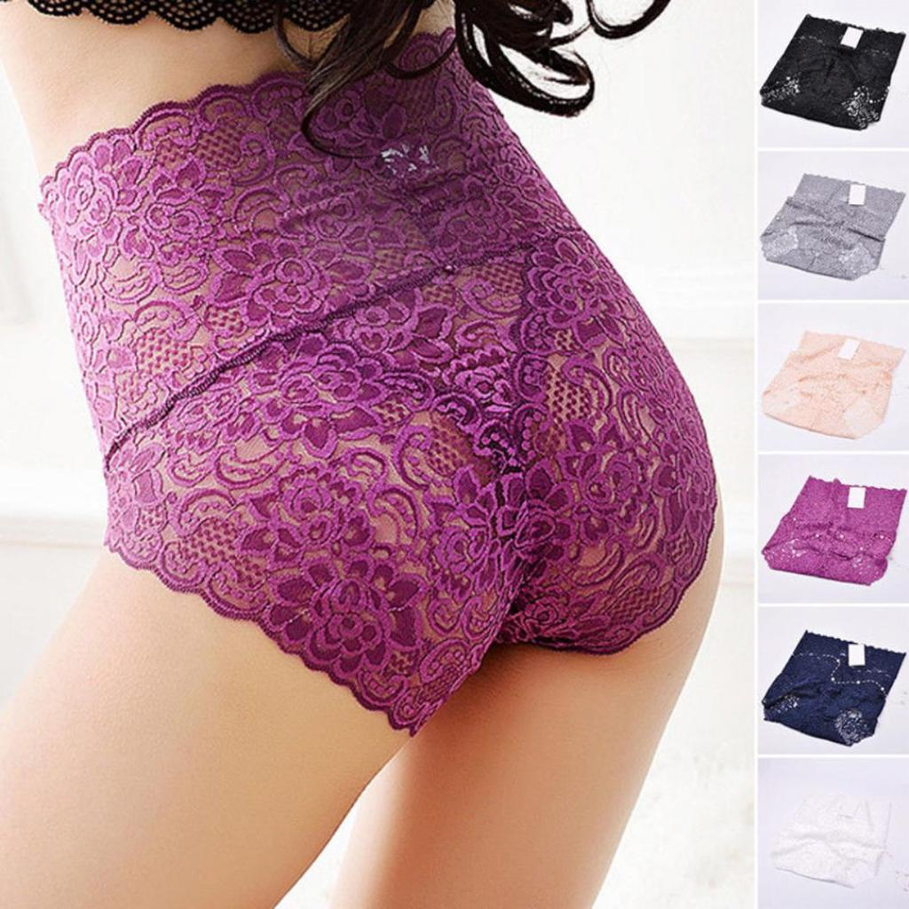 Precise Cut Lace Lingeries Womens High Waist See Through Underwear Panties