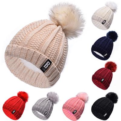 1Pc Candy Colors Mom Baby Knitted Keep Warm Hat Women Winter Hats Family  Matching Outfits Cap 05e21f064df0