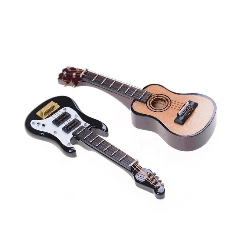 1:12 Dollhouse Miniature Music Instrument Folk Guitar DIY Miniature Home DecorTO