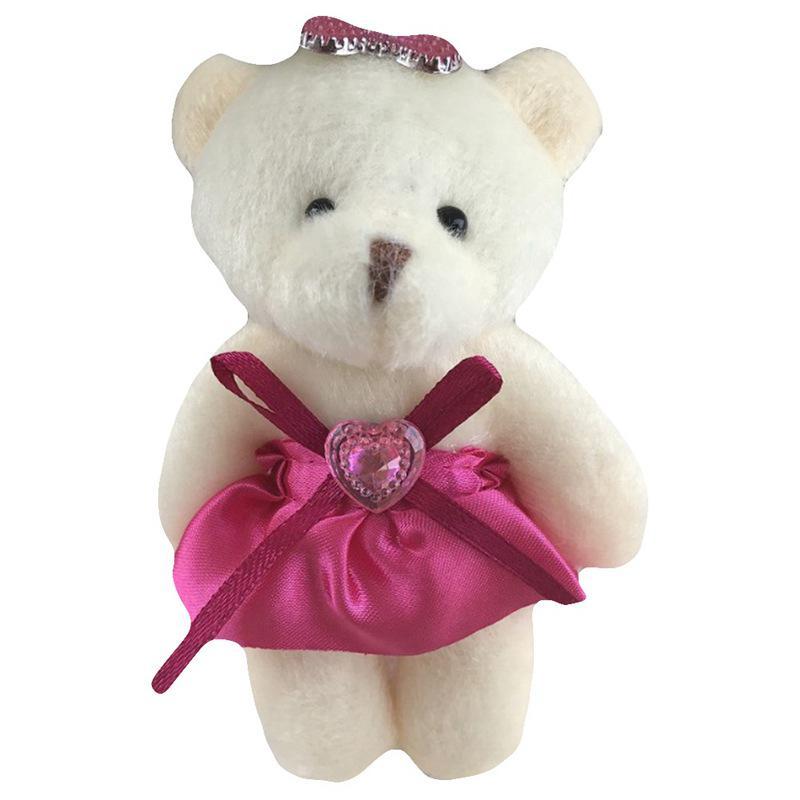 Mini Brown Ribbon Teddy Bear Soft Plush Stuffed Kids Toys Doll for Bouquet 12CM