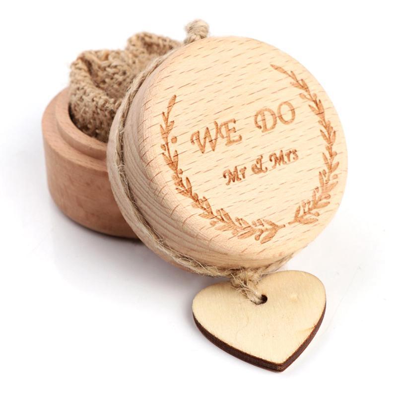 Set of 2 Wooden Printed Mr Mrs Shabby Chic Wedding Ring Holder Bearer Box Rustic Ring Box Gift Box