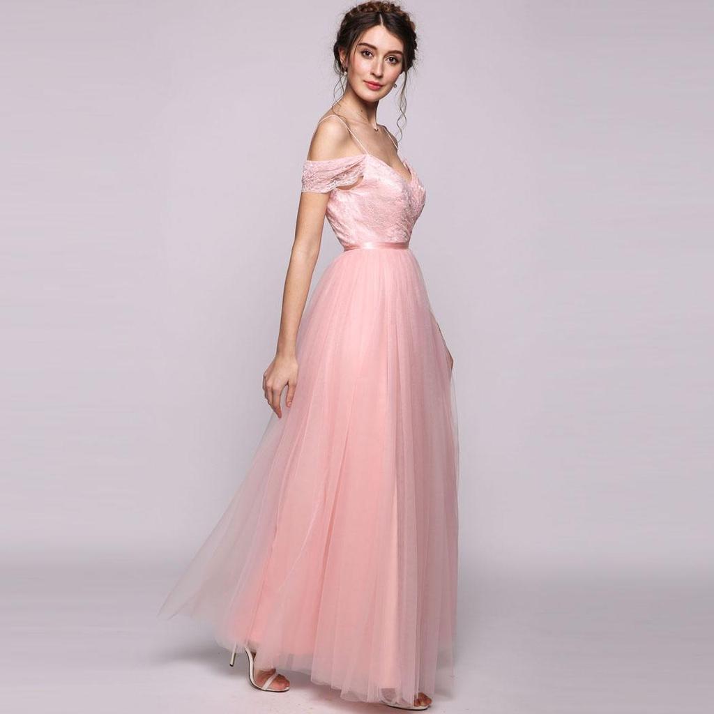 Mujeres/princesa de-el-hombro piso-vestido de Dama de honor de tul ...