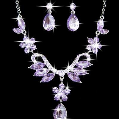 1028bf71c008 Elovodoo mujer elegante baile boda novia cristal brillante collar pendiente  juegos
