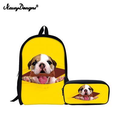 1fc920328 2 ajuste Preppy escuela niños adolescente chicas grande lindo Pug perro  imprimir niños mochilas bolsas lienzo