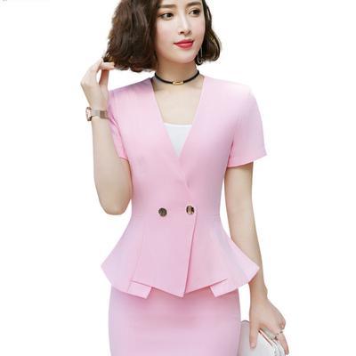 3e9dcd9875 Summer Women Solid Color Slim Fit z krótkim rękawem Ruffle Tops + Pakiet  Hip Skirt Female