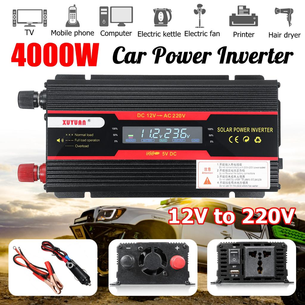 Universal 12V 24V Car Solar Power 4000W Convertitore Inverter 12V a 220V Yctze Car Power Inverter