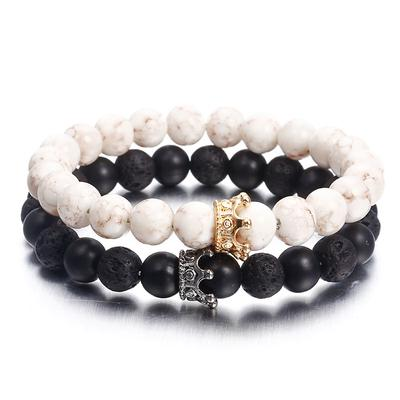 Fashion Natural Lava Stone Couple Bracelet Black White Beads Crown Bracelet for Man Women Jewelry