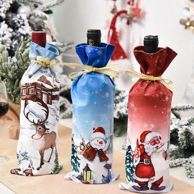 New Year Christmas Wine Bottle Dust Cover Bag Santa Claus Noel Dinner Table Decor Christmas Decorations for Home