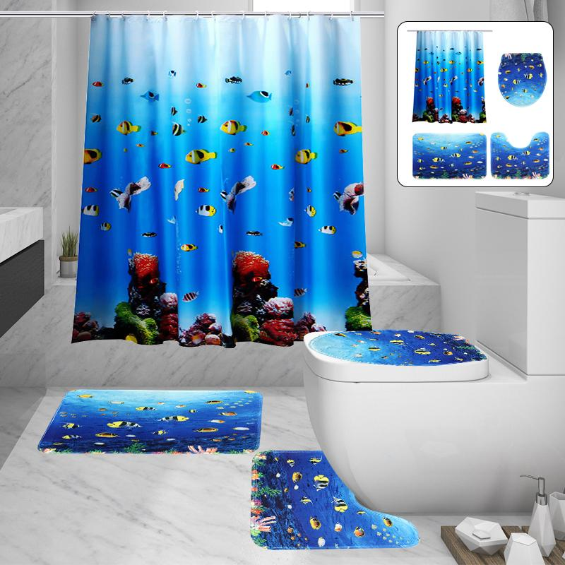 3D Printed Waterproof Polyester Fabric Curtain Toilet Cover For Home Bathroom US