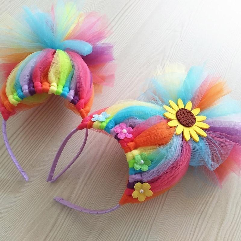 "6pcs//lot 4/"" Rainbow Hairbands Princess Hair Accessories Boutique tiara Hairband"