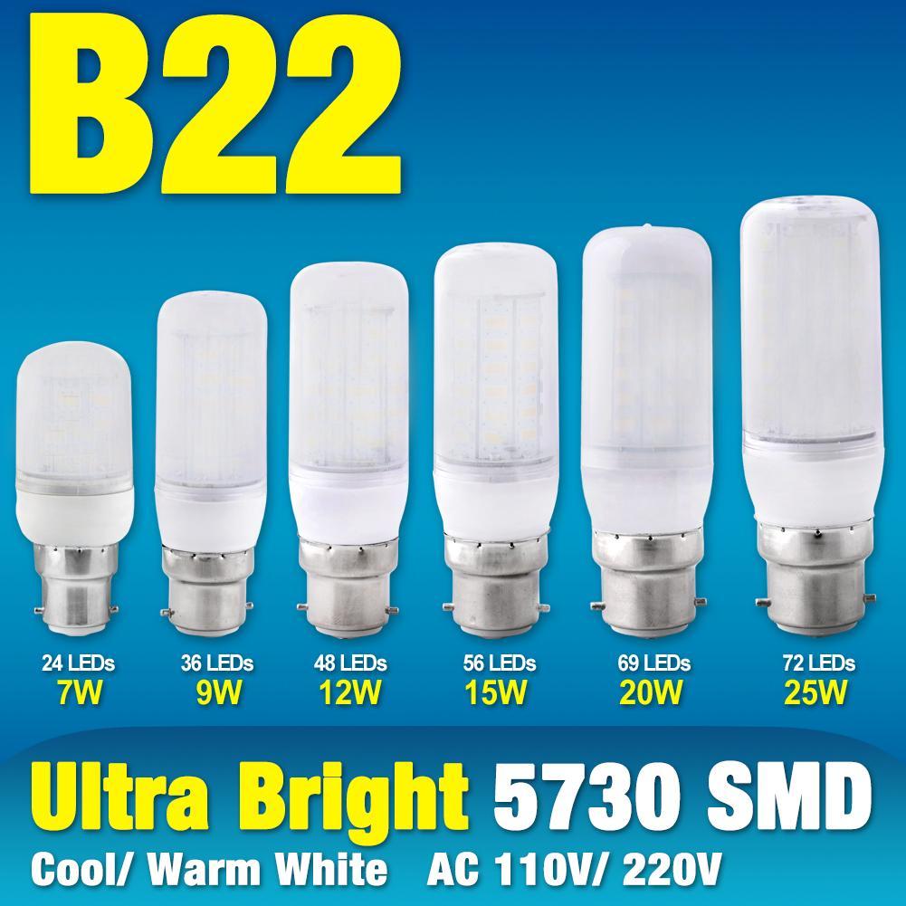 B22 Base AC 220V Ultra Bright 5050 SMD LED Corn Bulb Lamp Cool Warm White Lights