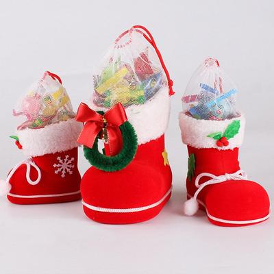 Christmas Xmas Flocking Red Boots Socks Candy Gift Bag For Kids Winter Decor J