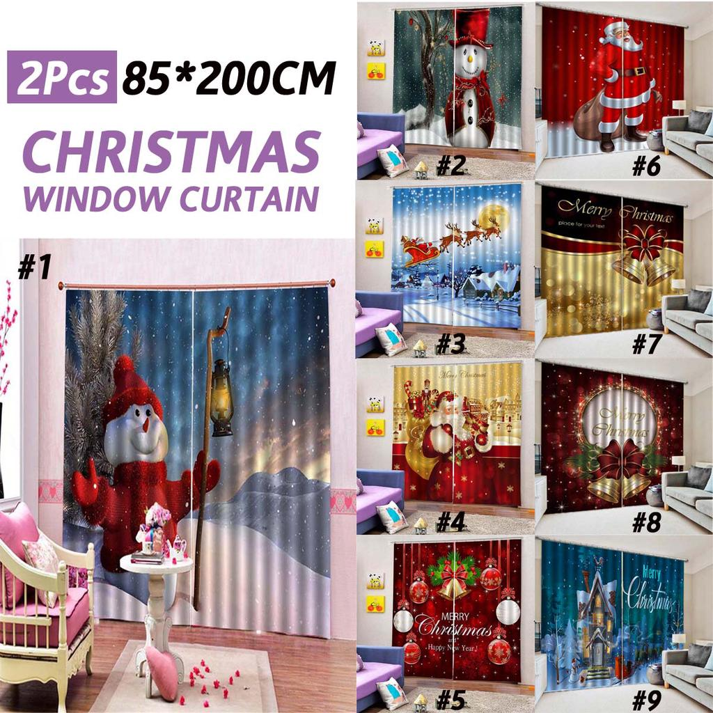 D Merry Christmas Window Curtain For Happy New Year Home Decor Living Room Bedroom Party Curtains Buy At A Low Prices On Joom E Commerce Platform