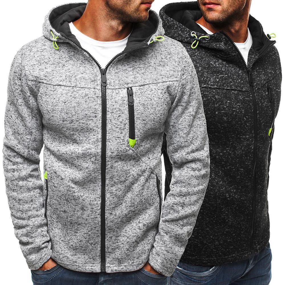Мужская повседневная твердый цвет Зиппер Hoodies Slim Fit Сповитрубашка Мода Длинный рукав Зимний пиджак фото