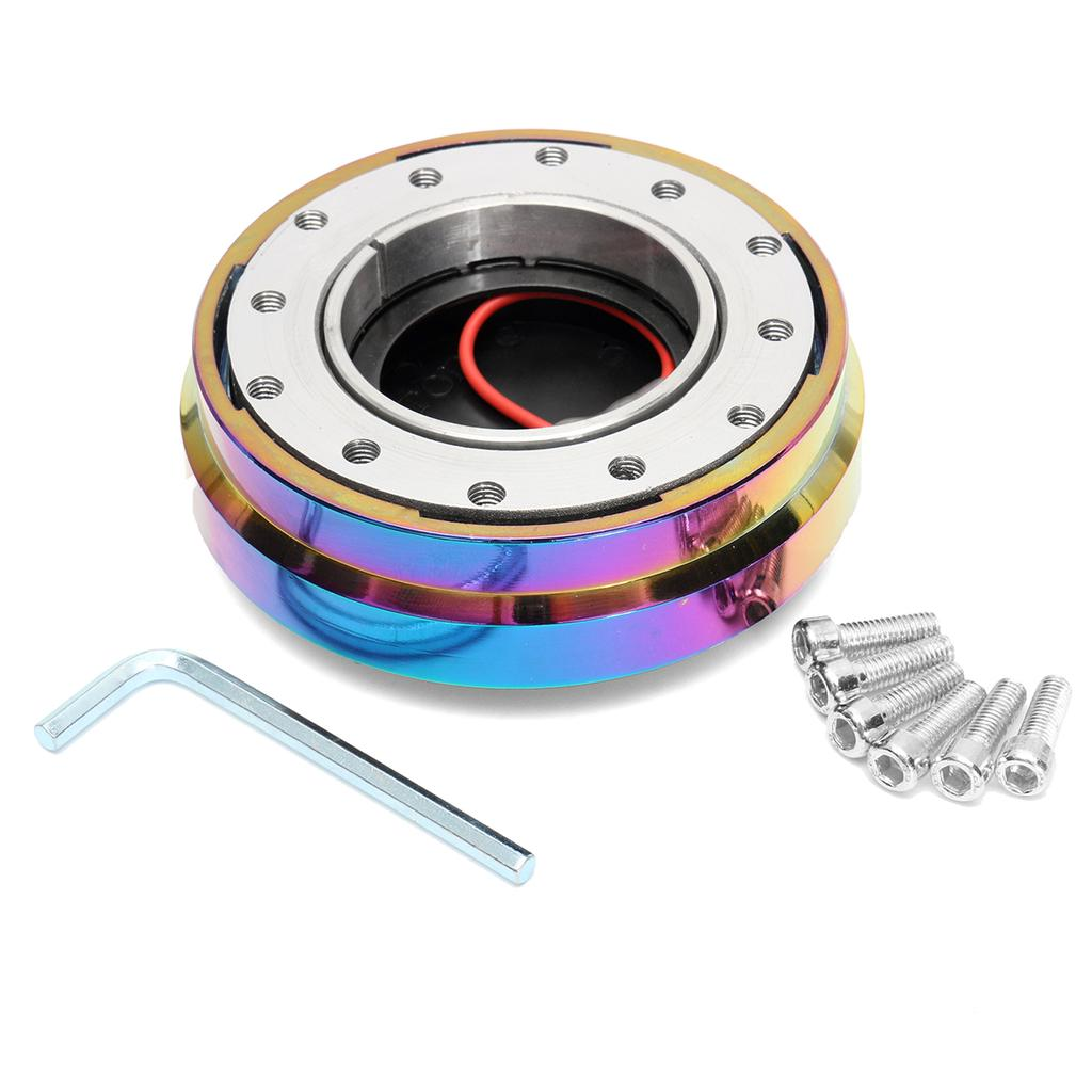 "UNIVERSAL 1.5/"" SLIM SHORT STEERING WHEEL QUICK RELEASE HUB ADAPTER NEO CHROME"