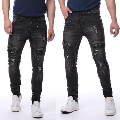 921e1c254eb US Men s Stretchy Ripped Skinny Biker Jeans Destroyed Taped Slim Fit ...