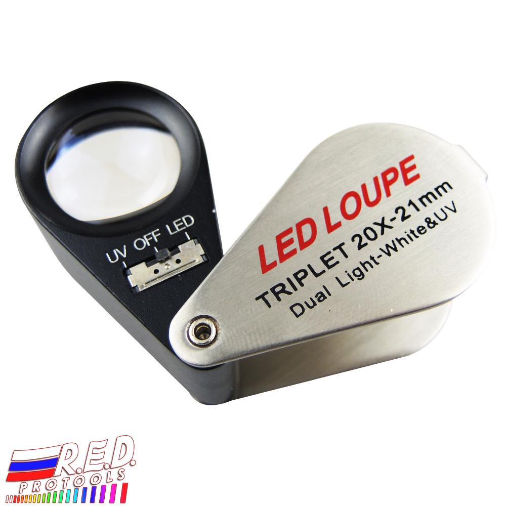 20X Optical Glass Magnifier LED Lighted Jeweler Loupe With Measure Scale